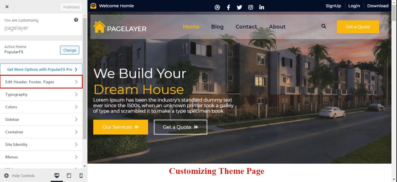 Customizing Page