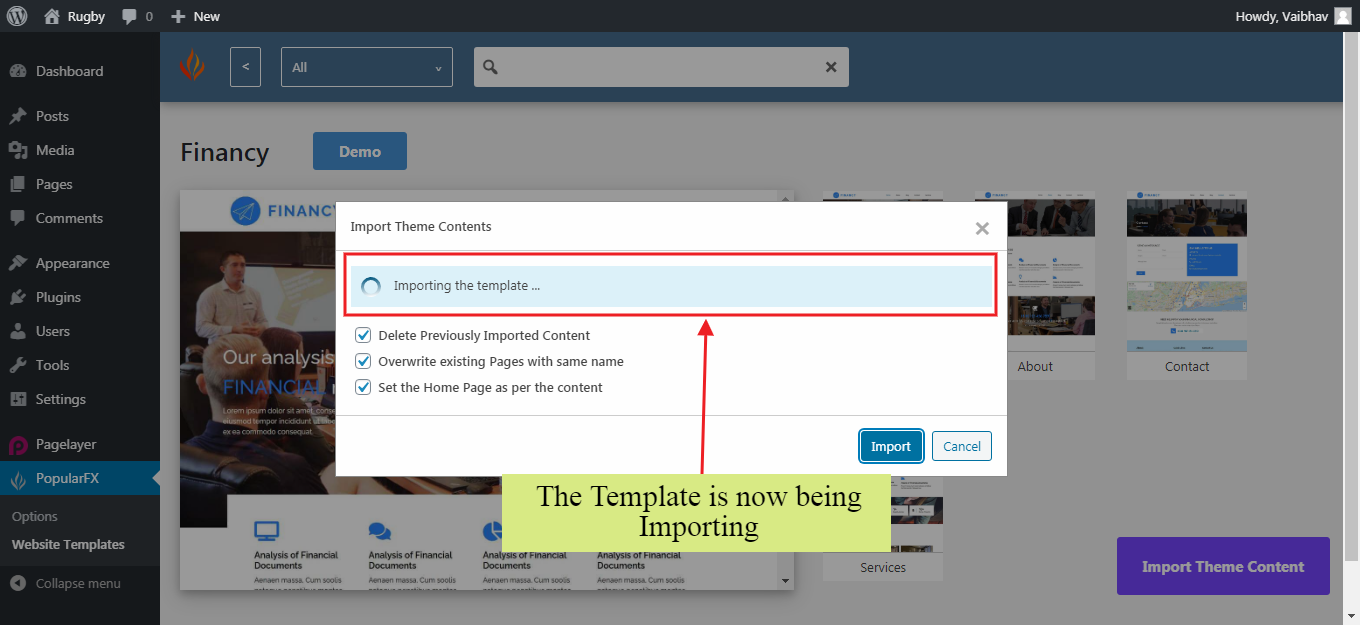 Website Templates Import Page Importing
